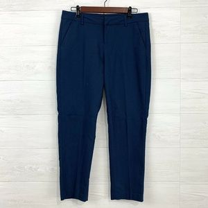 Liverpool Navy Flat Front Cropped Trouser Pant